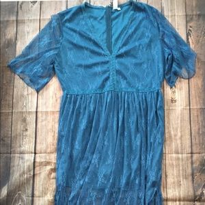 Turquoise lace overlay maxi/shorts romper